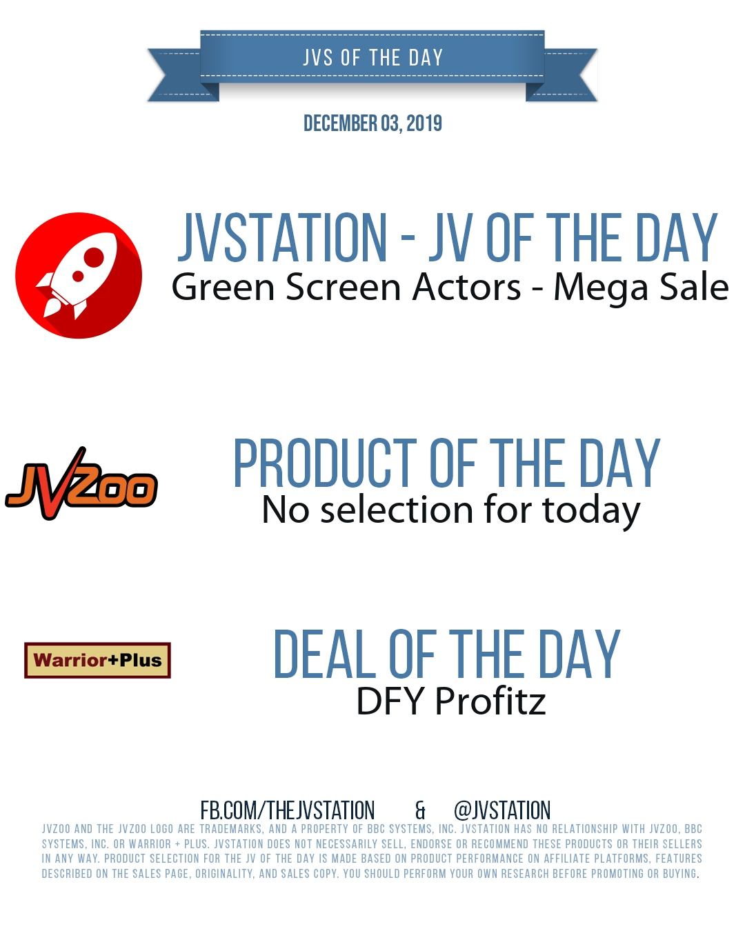 JVs of the day - December 03, 2019